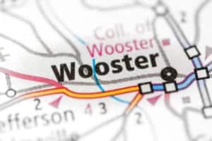 Map showing the location of Wooster, OH