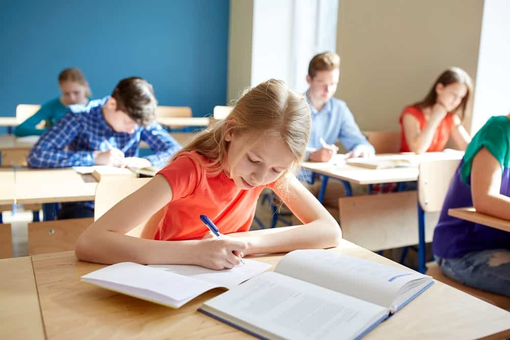 Students taking a test at school