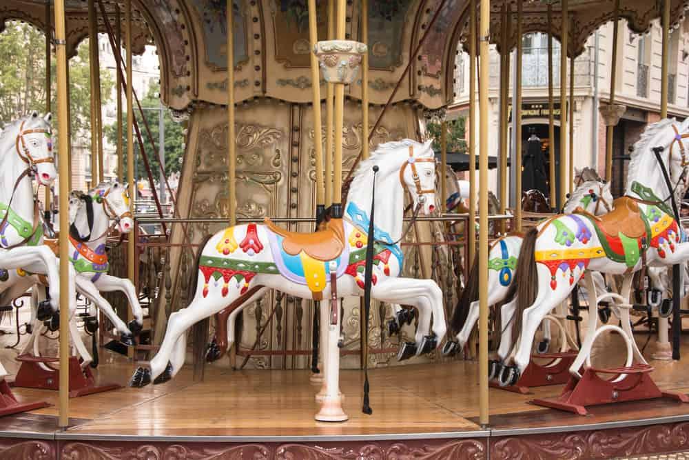 Beautiful carrousel on nice day.