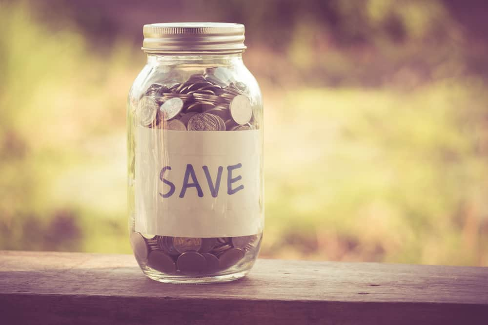 Savings in a labeled jar.
