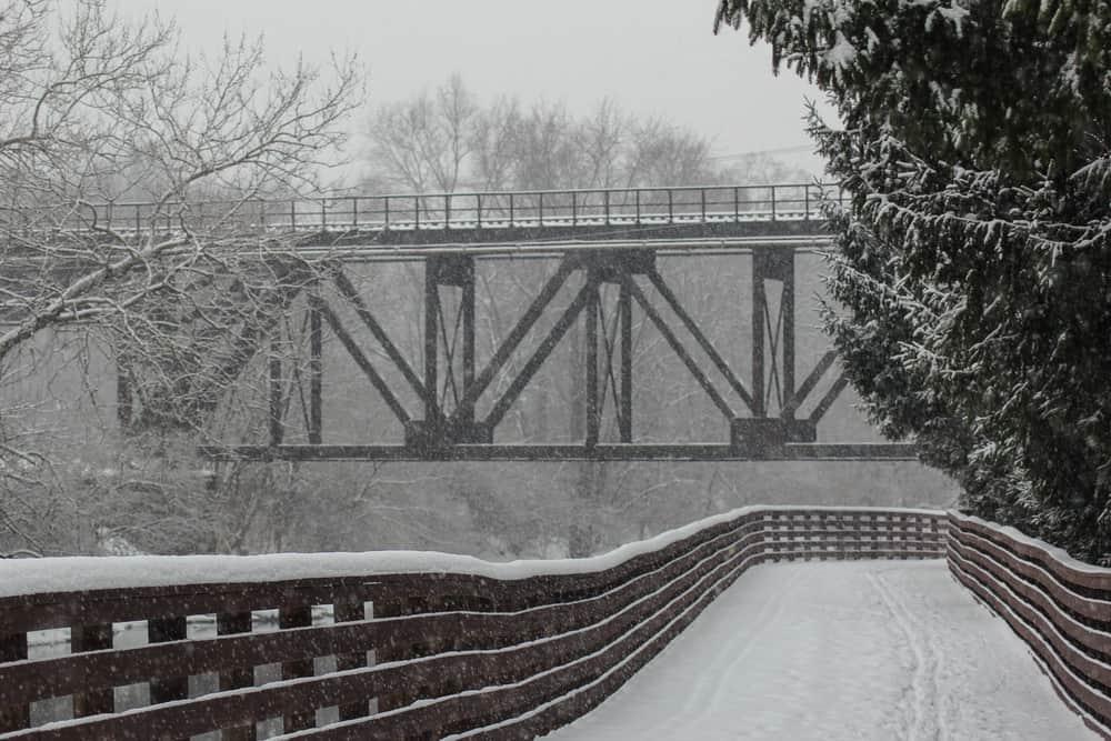 Snow on bridge in Kent, OH