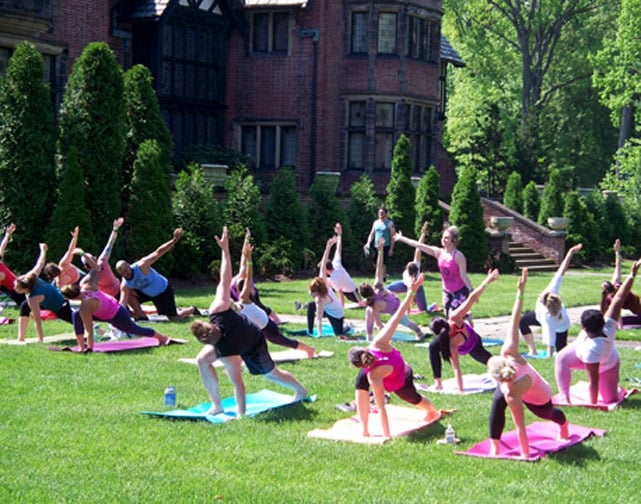 Class doing yoga at Stan Hywet Hall and Gardens