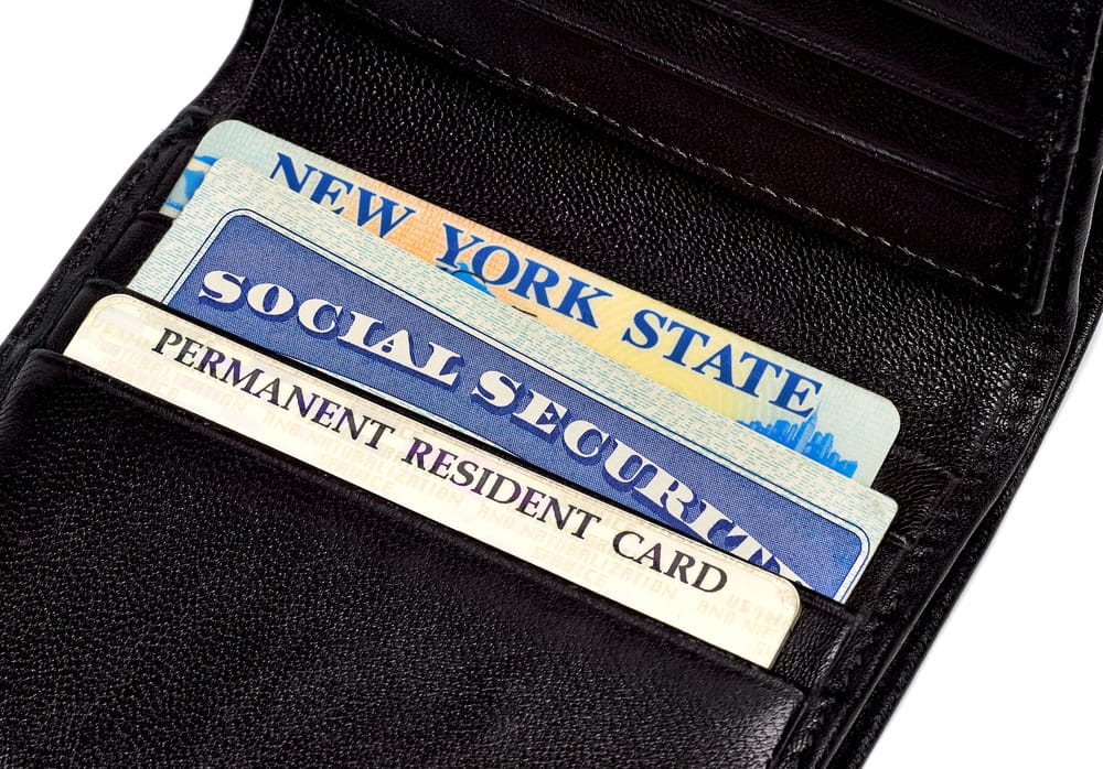 Wallet with license, social security, and permanent resident card.