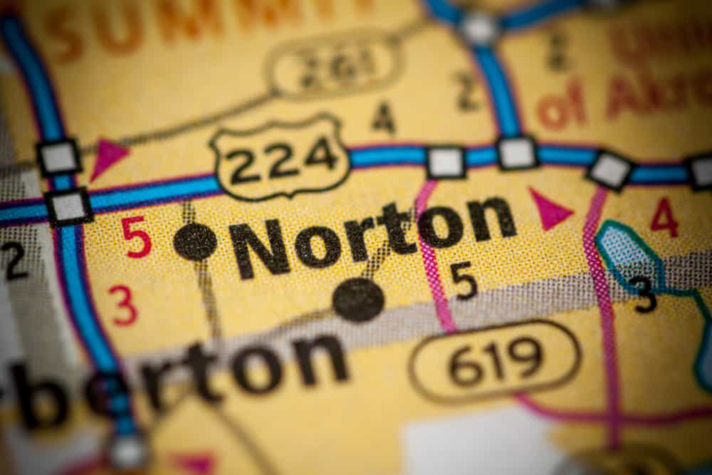 Norton, OH on a map
